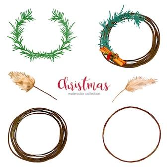 Коллекция акварельных иллюстраций рождественских украшений