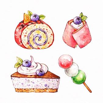 Коллекция акварелей японского десерта