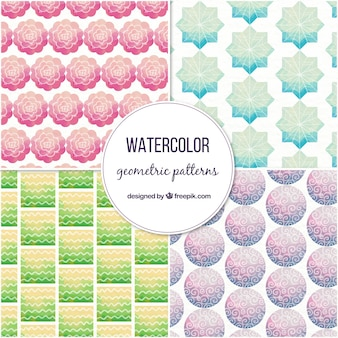 Collection of watercolor patterns with geometric shapes