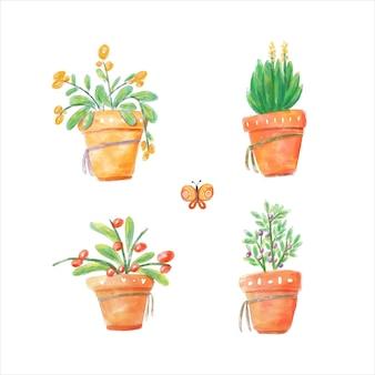 Коллекция акварельных растений в горшке