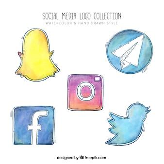水彩ソーシャルネットワークのロゴのコレクション