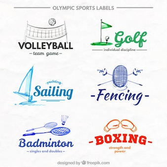 Коллекция акварельных спортивных этикеток