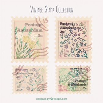 Коллекция акварели старинные цветочные штамп