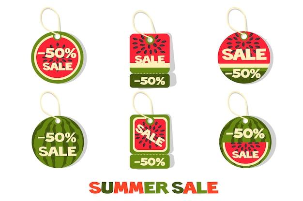 Коллекция тегов или этикеток летней распродажи арбузов. набор ценников.