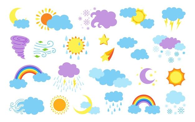 Коллекция икон погоды мультфильм, изолированные на белом