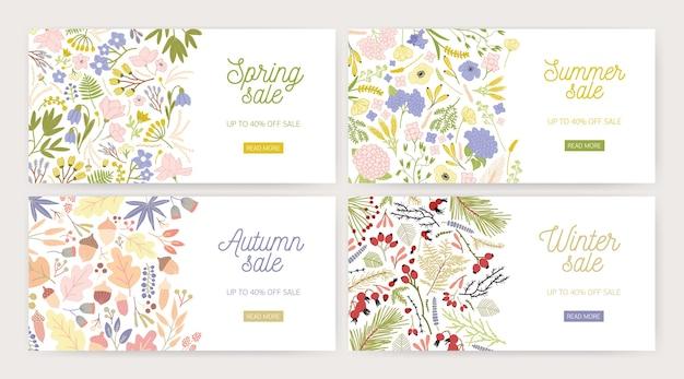 ゴージャスな花が咲くウェブバナーテンプレートのコレクション Premiumベクター