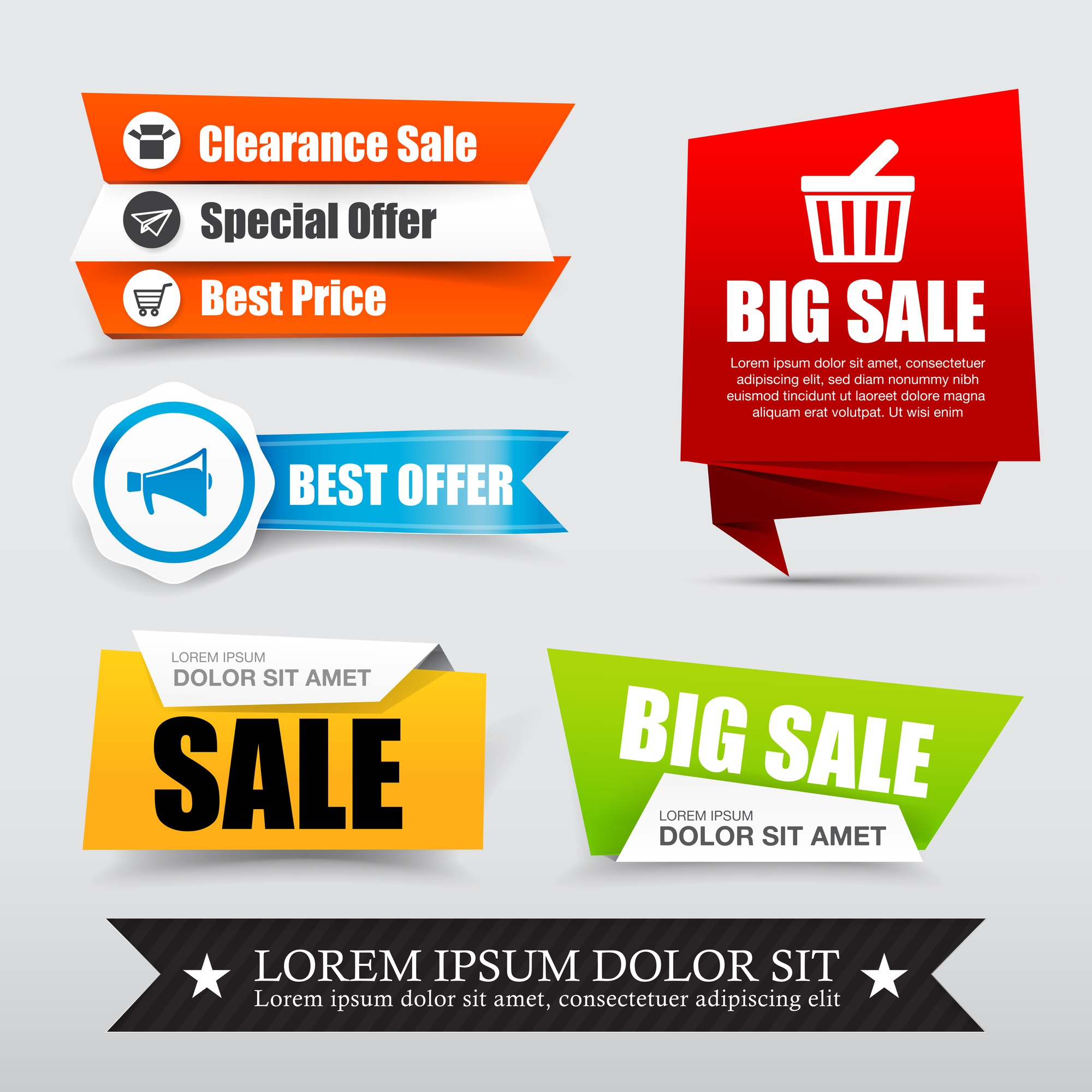 Collection of web tag banner for promotion sale discount