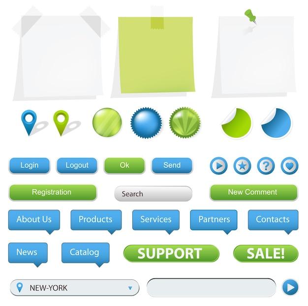 Коллекция элементов веб-сайта и gps-навигации.