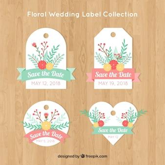 Коллекция свадебных значков с цветами