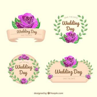 Коллекция свадебных значков с фиолетовыми цветами