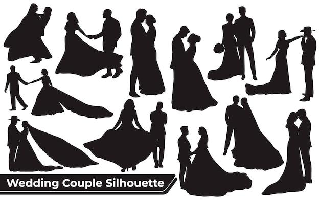 Коллекция силуэтов свадебной пары в разных позах