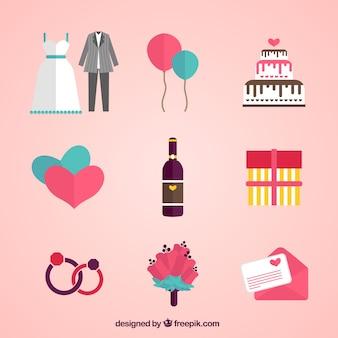Коллекция свадебных элементов в плоском дизайне