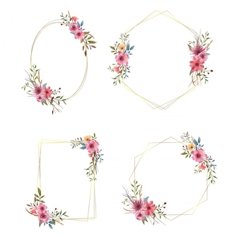 수채화 꽃 꽃다발과 금 테두리의 요소와 웨딩 프레임 컬렉션