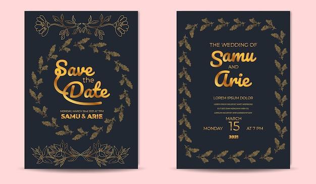 結婚式の招待状モノラインフラワーラグジュアリーのコレクション