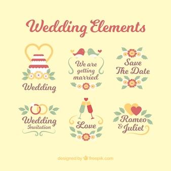 装飾品で結婚式のラベルのコレクション
