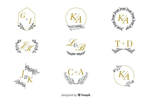 結婚式のモノグラムロゴ集 Premiumベクター