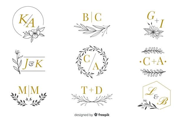 Коллекция свадебных вензелей, логотипов Premium векторы