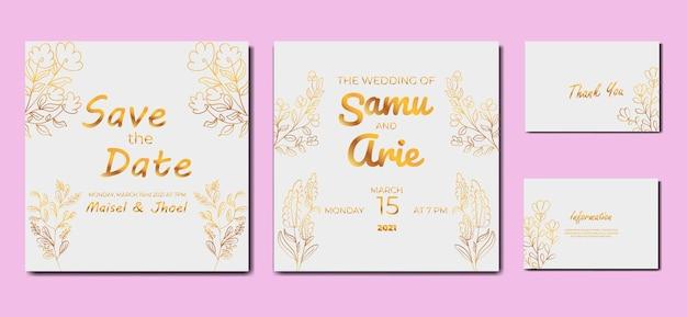 結婚式のホワイトゴールドの招待状の花のコレクション