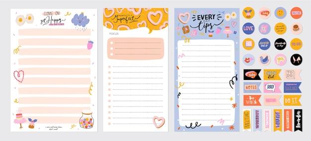 Коллекция еженедельного или ежедневного планировщика, бумаги для заметок, списка дел, шаблонов наклеек, украшенных милыми иллюстрациями любви и вдохновляющими цитатами. школьный планировщик и организатор.