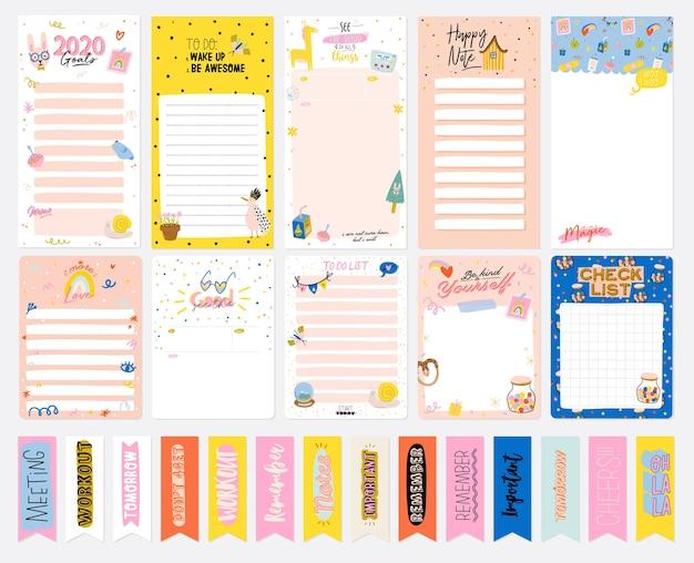 Коллекция еженедельного или ежедневного планировщика, заметок, списка дел, украшенных шаблонов наклеек