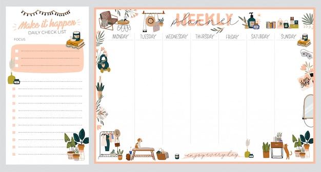 Коллекция еженедельного или ежедневного ежедневника, бумаги для заметок, списка дел, шаблонов, украшенных иллюстрациями домашнего интерьера и вдохновляющими цитатами.