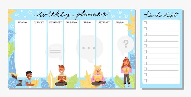 Сборник еженедельного планировщика и шаблон списка дел. школьное расписание или дизайн расписания.