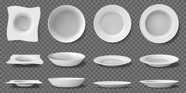 Коллекция белых реалистичных тарелок