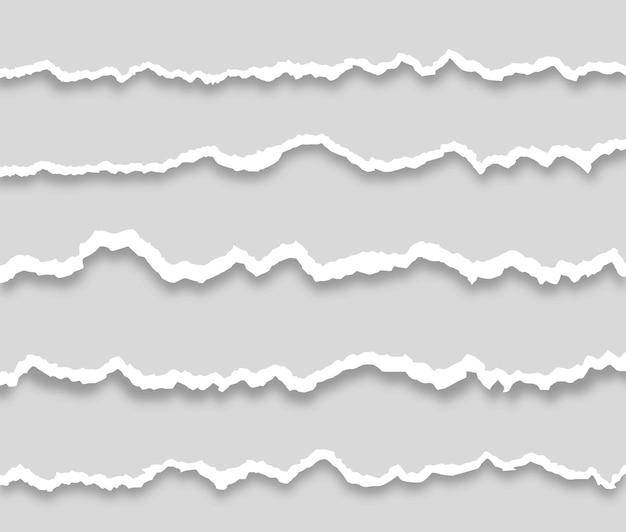 흰색 찢어진 종이 컬렉션 찢어진 가로 종이 스트립 조각
