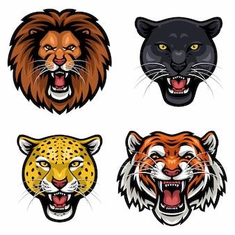 Коллекция диких животных сердитое лицо вектор