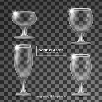 현실적인 스타일의 와인 잔 컬렉션