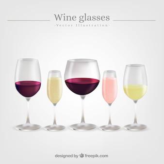 現実的なスタイルのワイングラスのコレクション