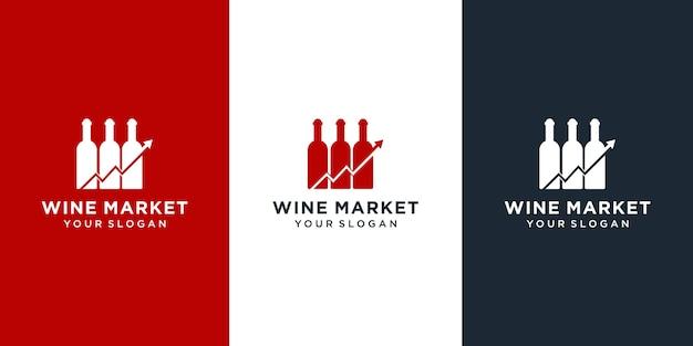 Коллекция дизайна логотипа винного рынка