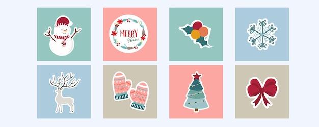 Коллекция зимнего фона с оленями, снеговиками. редактируемые векторные иллюстрации для рождественских приглашений, открыток и баннеров для веб-сайта