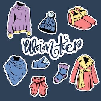 Коллекция зимней одежды. коллекция одежды на зиму. в мультяшном стиле.