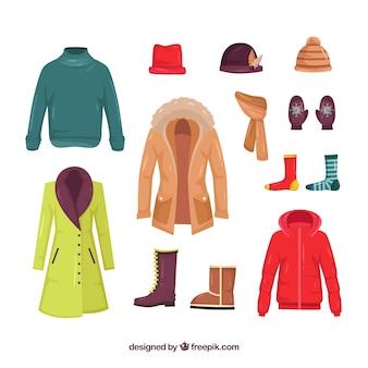 フラットデザインの冬の服のコレクション