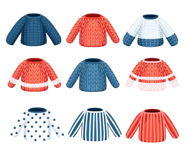 겨울 니트 스웨터의 컬렉션입니다. 다른 패턴의 옷. 흰색 배경에 그림