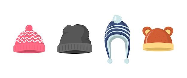 フラットスタイルのイラストで冬や秋の帽子のコレクション