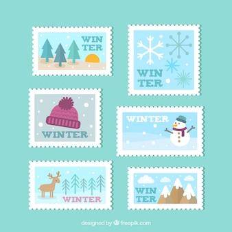 Коллекция зимних марок в плоском дизайне