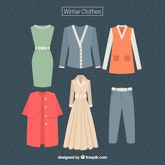 Коллекция зимних видов женской одежды
