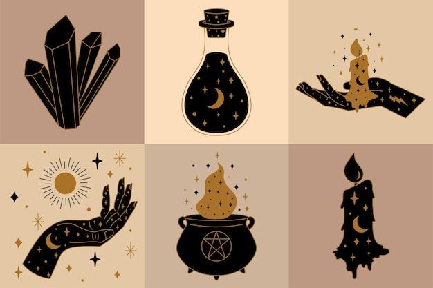 Коллекция значков и символов колдовства с рукой и зельем в котле