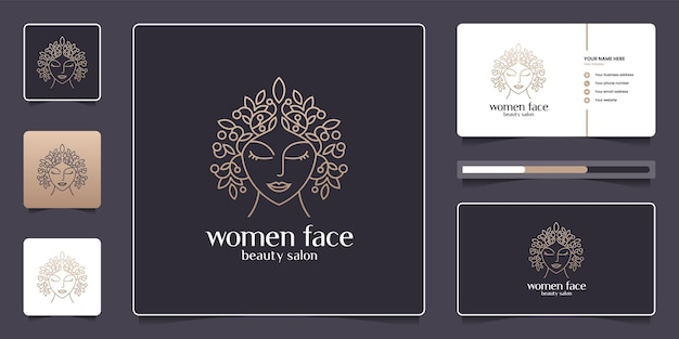 女性の顔のデザインのロゴのコレクション