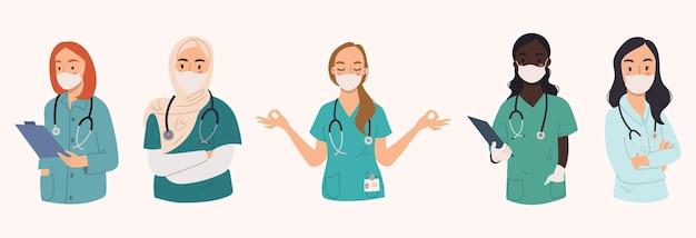 Коллекция женщин-врачей со стетоскопом