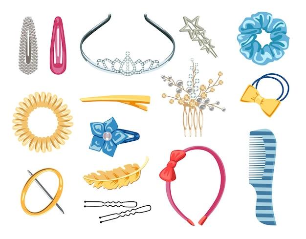 Коллекция женских аксессуаров для волос векторные иллюстрации