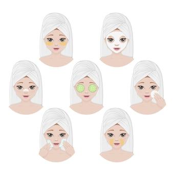 スキンケアとクリーニングのさまざまな方法で女性の顔のコレクション。美容トリートメント。ベクトルイラスト。白で隔離。漫画のスタイル。