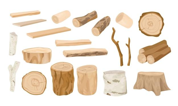 나무 통나무, 나뭇가지, 목재, 흰색 배경에 분리된 거친 판자로 톱질한 목재의 컬렉션입니다. 목재 및 산업용 목재 세트입니다. 현실적인 스타일의 다채로운 벡터 일러스트 레이 션