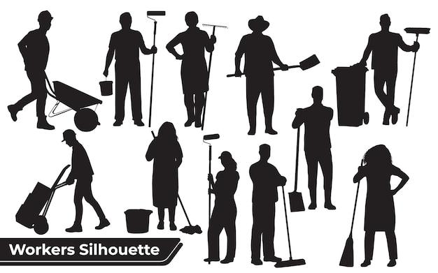 さまざまな位置での労働者または労働シルエットのコレクション
