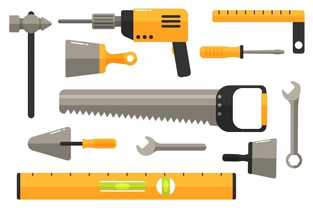作業ツールのコレクション。修理および建設ツールのアイコンを設定します。