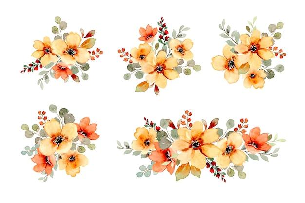 수채화와 노란색과 주황색 꽃 꽃다발의 컬렉션