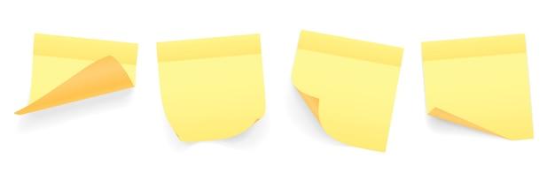 웅크 리고 모서리와 그림자가있는 메모 용지의 노란색 컬러 시트 모음
