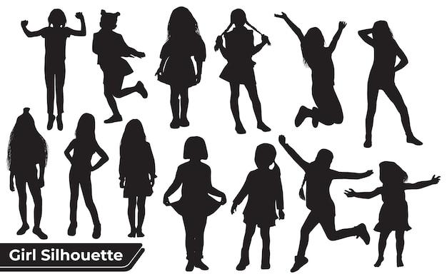 Коллекция силуэтов молодой девушки в разных позициях